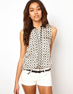 River Island print shirt with contrast collar