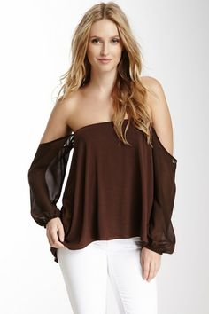 Chiffon Sleeve Off-The-Shoulder Top by Classique on @HauteLook