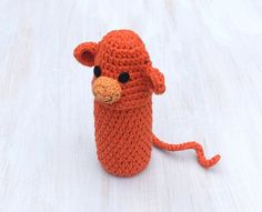 Bottle cozy Baby bottle sleeve For kids Crochet cozy Water bottle cover Animal shaped cozy Orange monkey Funny For animal lovers