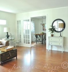 the dining room/living room.French door room dividers great vintage cottage and clean look Door Dividers, Room Divider Doors, Cottage Living Rooms, French Doors Patio, Front Rooms, Living Room Remodel, Home Projects, Living Area, A Table