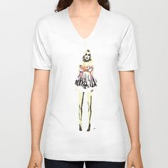Babydoll V-neck T-shirt by Allison Reich - $24.00 #shirt #fashion #illustration #fashionillustration