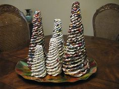 Rolled Paper Christmas Trees