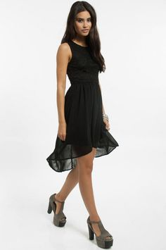 check out the lace on the back of this black dress