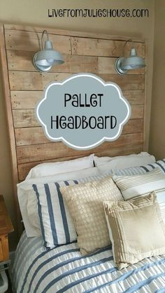 giant pallet headboard with lights, bedroom ideas, diy, pallet, wall decor, woodworking projects
