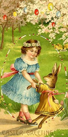 """Easter Greetings"" Hold to Light Postcard. Easter Vintage, Vintage Holiday, Decoupage Vintage, Easter Art, Easter Crafts, Easter Bunny, Vintage Greeting Cards, Vintage Postcards, Easter Illustration"