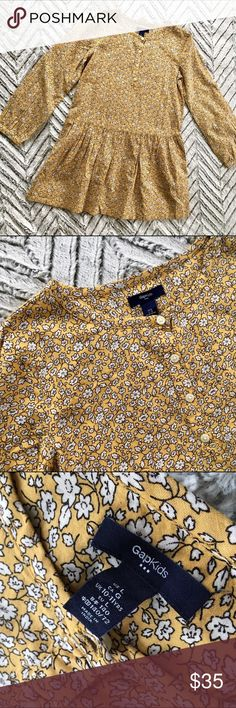 GAP Floral drop waist yellow Floral Boho dress, lg Yellow Mini-flower print drop-waist dress for girls, size large. By the GAP. In like-new condition.   🎀Search my closet for your size to: 🎀BUNDLE and SAVE! 🎀REASONABLE offers WELCOME 🎀NO TRADES NO HOLDS 🎀Thank you for stopping by!❤️ GAP Dresses Casual