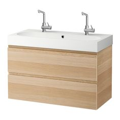 GODMORGON / BRÅVIKEN Sink cabinet with 2 drawers - white stained oak effect - IKEA inch. Ikea Sink Cabinet, Wash Basin Cabinet, Vanity Cabinet, Vanity Units, Double Bowl Sink, Ikea Family, Wash Stand, Vanity Countertop, Plastic Drawers