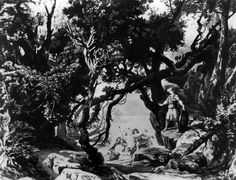 Photograph (1876), by Victor Angerer (1839-1894), of the set design by Josef Hoffman (1831-1904), for Act 3, Scene 1, of Götterdämmerung (1874), by Richard Wagner (1813-1883).