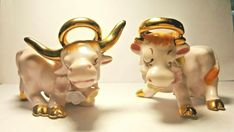 They have Golden Halo's, Horns and Hooves. Still have original cork stoppers. Pink Cow, Cork Stoppers, Salt And Pepper, Vintage Pink, Horns, Halo, Christmas Ornaments, Holiday Decor, Ebay