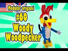 3D MODULAR ORIGAMI #60 WOODY WOODPECKER #PaperToy #FunToy #PaperCraft