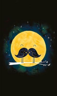Imagem de moon, bird, and mustache