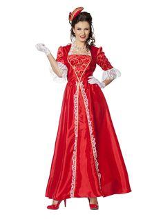 S.. COST-W NEU with Dress /& Headband - Red Deluxe Baroque Dark Queen Costume