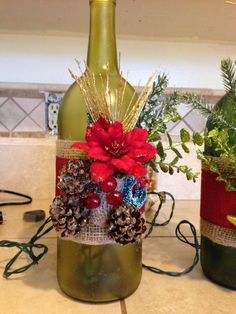 Christmas lighted wine bottle Easy