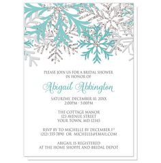 Bridal Shower Invitations - Winter Snowflake Teal Silver – Artistically Invited