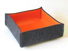 Utensilo & Stoffkörbchen - Filz Schale / Korb orange - ein Designerstück von Oliva-Filz bei DaWanda