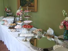Bridal Tea - Dessert Table  Specialty cookies, Meringue Kisses, Cupcakes, Mini Cakes