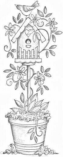 A birdhouse on a stand in a pot of tulips Patterns Drawings