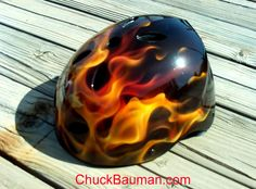 Airbrushed helmet. I want to do a snowboarding helmet soon.