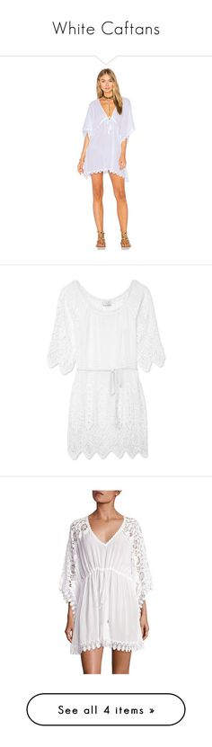 """White Caftans"" by deborah-97 ❤ liked on Polyvore featuring tops, tunics, swim, cotton caftan, seafolly top, caftan top, kaftan tops, cotton tunics, dresses and vestidos"