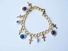 Eyes In The Sky Bracelet - Crosses and Eyeballs - READY TO SHIP on Etsy, $22.89 CAD