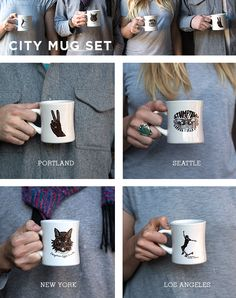 We're happy to announce the City Mug Set, now available online! We've created these mugs to honor each of the bright and beautiful cities we call home. The set comes with these 4 mugs with the respective city emblazoned on the back.