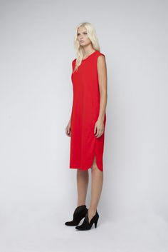 The best winter red. Organic cotton Oleander dress. The perfect throw on dress.