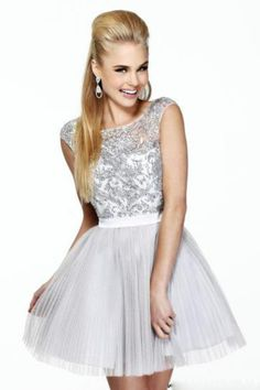 Cute 2013 Homecoming Dresses Short Mini Scoop A Line Organza Backless