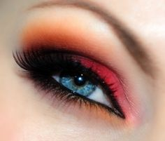 Orange and red eye makeup