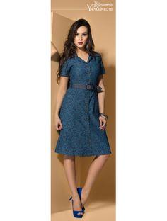 Vestido Jeans Estampado Dyork 7177 Primavera/Verão 2015 - Estrela Evangelica