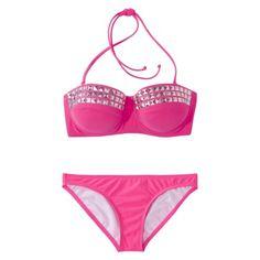Xhilaration® Junior's Studded 2-Piece Bikini Swimsuit -Pink