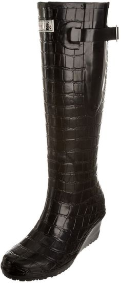 Love these. Wedge Welly Women's Flex - Man Eater Black Wellington Boot