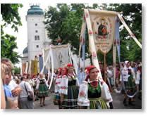 The feast of Corpus Christi (Body of Christ) or Boze Cialo is observed on the Thursday after Trinity Sunday all over Poland. Houses, doorways, and windows are decorated with greenery, flowers, and holy pictures and makeshift altars and shrines are built in the streets.