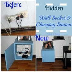 Hidden Wall Socket {& Charging Station} - perfect to hide the wall socket/cords & phones etc