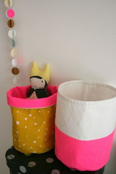 DIY Canvas Craft Buckets
