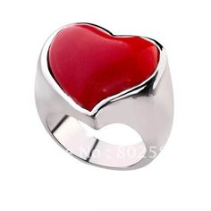 Freeshipping 925 sterling silver ring,red nature stone heart ring,HOT GIFT,Promotion! BSR006 found on Polyvore