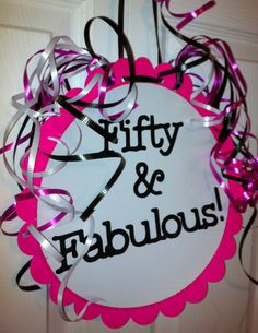 50th Birthday Party Decorations Giant  Party Sign 50 and Fabulous
