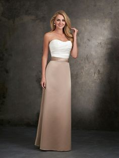 This dress meets some Capricorn requirements: classic, simple, and any shade of brown. Allure bridesmaids dress