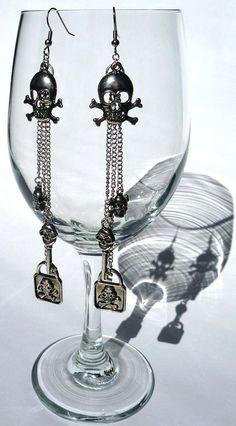 Silver Skull Dangle Earrings by 3rdDensityCreations on Etsy, $20.00
