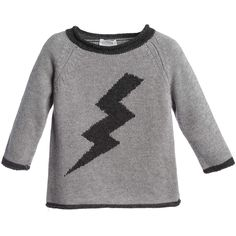 Kid's Company Grey Cashmere Sweater with Lightening Bolt at Childrensalon.com