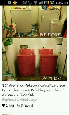 Paint your washer and dryer! Never thought of that! Can also use stencils :D. Painted dryer and washer