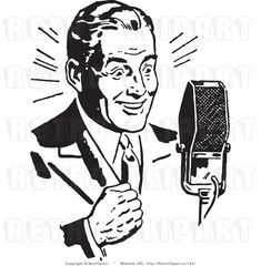 Royalty Free Black and White Retro Vector Clip Art of a Radio Host