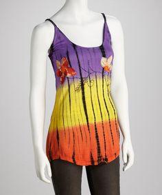 Look at this #zulilyfind! Purple & Orange Flower Tank #zulilyfinds