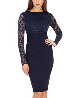Ssyiz Women's Long Sleeve Navy Blue Lace Slim Business Bodycon Dresses Party Evening Dress Bridesmaid Cocktail Dress Ssyiz http://www.amazon.com/dp/B015HL1M0I/ref=cm_sw_r_pi_dp_UbmDwb0EPB4E8