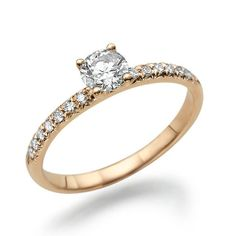 14K Rose Gold Solitaire Ring with Accents #diamond #pearls #earrings #bridesmaid #girl #fashion #jewelry #gold #silver #rosegold #elegant #beauty #dress #wedding #engagement