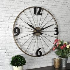 Find FirsTime Bicycle Wheel Wall Clock in the Wall Decor category at Tractor Supply Co.Featuring large numbers and a design similar to spokes on Bicycle Decor, Bicycle Art, Bicycle Crafts, Bicycle Rims, Bike Wheels, Wagon Wheels, Wagon Wheel Decor, Diy Wall, Wall Decor
