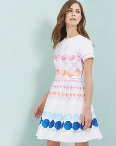 Marina Mosaic skater dress - White   Dresses   Ted Baker