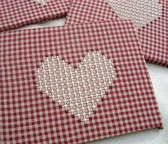 Heart stitching - chicken scratch on gingham by ThreeOldKeys