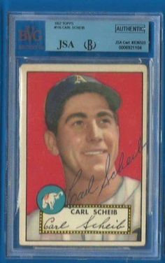 CARL SCHEIB Signed 1952 Topps JSA BGS Philadelphia Athletics Autographed Card by Signed Trading Card. $44.99. Up for sale is a Philadelphia Athletics great Carl Scheib autographed 1952 Topps card #116. Slabbed by Beckett Grading Services and authenticated by JSA. Nice Carl Scheib ballpoint signature on a vintage 1952 Topps card.