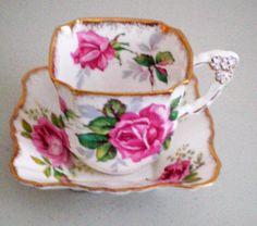 Royal Stafford Berkeley Rose Square Cup & Saucer Royal Albert American Beauty