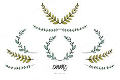 Hand-Drawn Branches and Leaves by Emme Design Co. on Creative Market